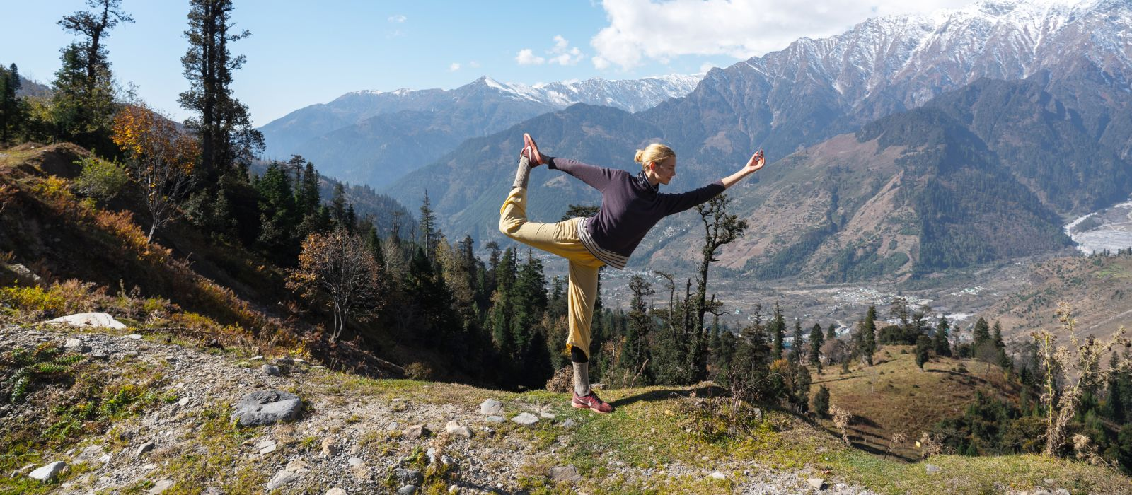 Dutch Women yoga posing, Himalayas, Manali Rohtang, India