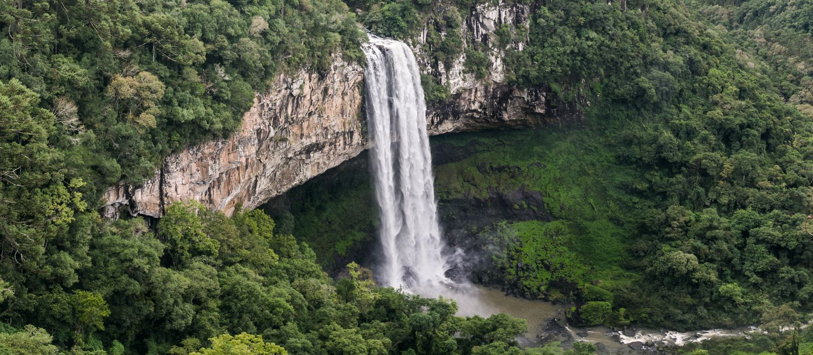 Beautiful view of Caracol Waterfall (Snail Waterfall) - Canela- Rio Grande do Sul - Brazil, South America