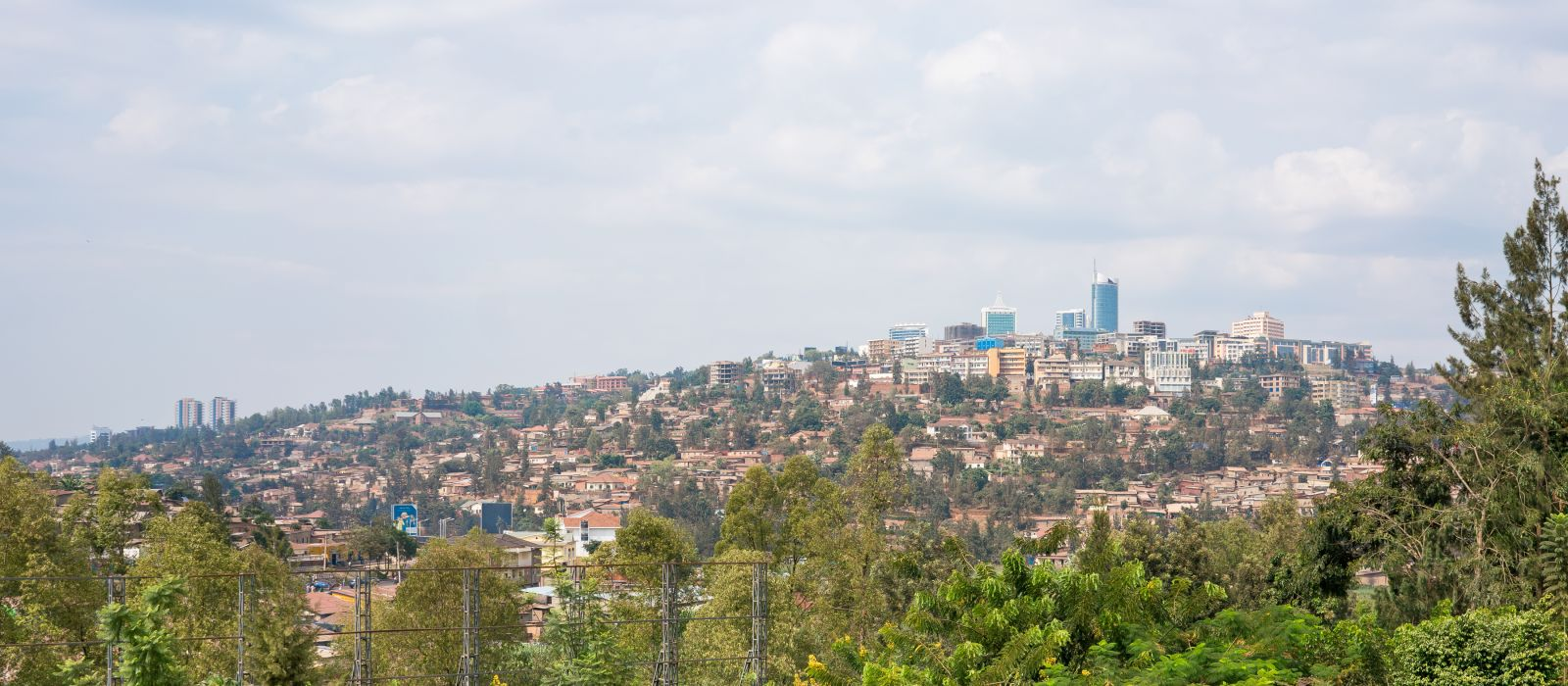 Bird's eye view of the buildings of downtown Kigali