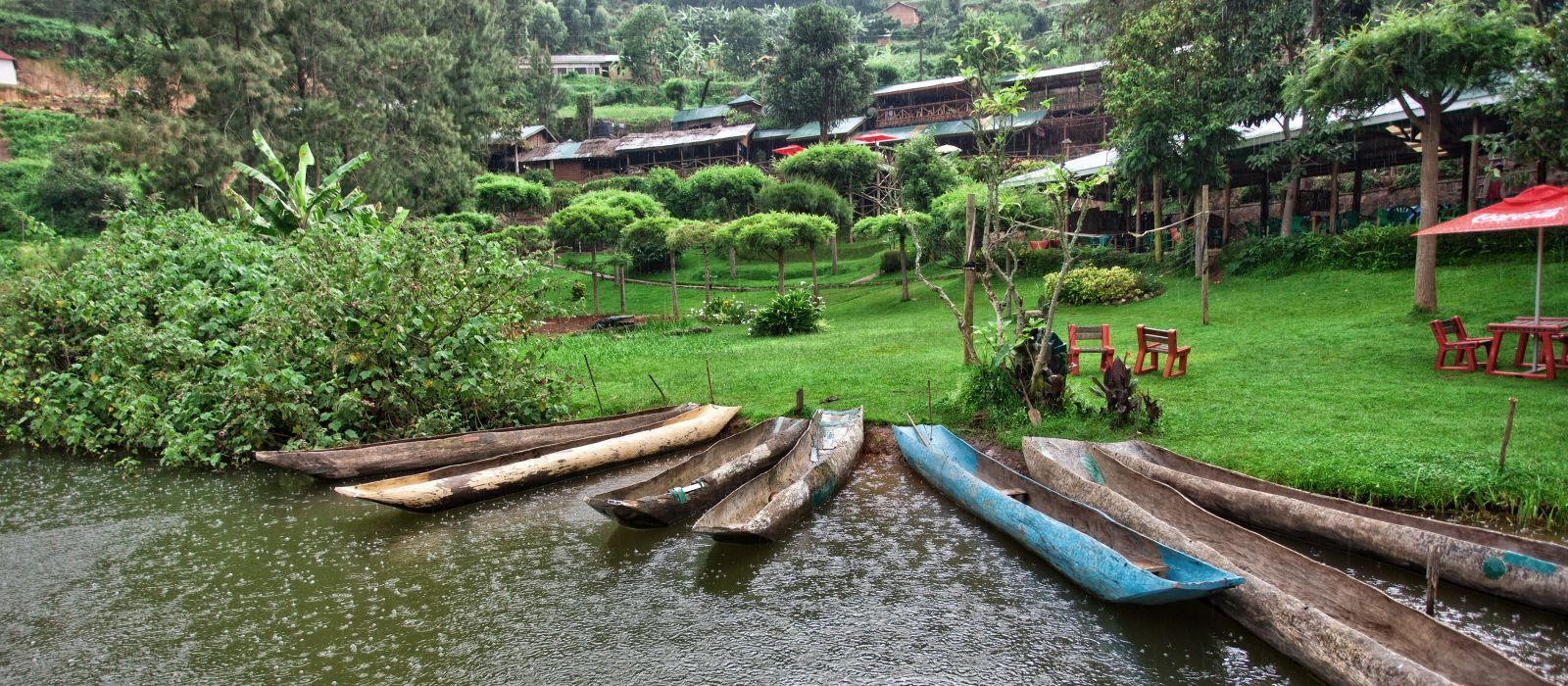 Traditional boats at Lake Bunyonyi in Uganda, Africa