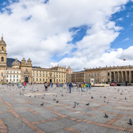 Panoramic view of Bolivar Square, Bogota, Colombia, South America