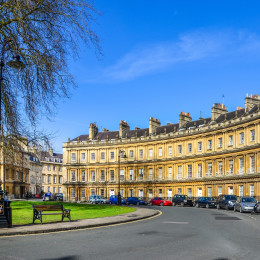 The Circus -- the iconic British style architecture buildings.The historic street of large townhouses in the city of Bath, United Kingdom