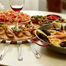 Spanish paella dinner on the table