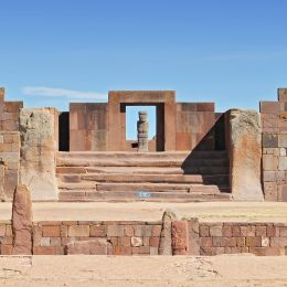 A view from The Kalasasaya Temple, Tiwanaku archaeological site, La Paz, Boliva, South America