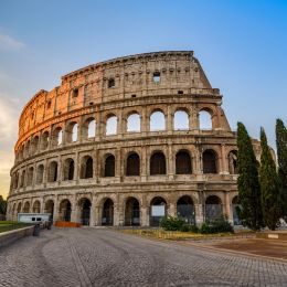 Rome Italy sunrise city skyline at Colosseum Coliseum, Europe Tours