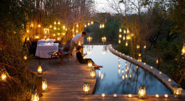 Outdoor dinner area at Londolozi Pioneer Camp, Kruger, South Africa