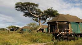 Exterior view of guest tents at Lake Masek Tented Camp in Serengeti (Southern), Tanzania