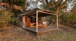 Front view Busanga Bush Camp in Kafue, Zambia
