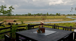 Exterior view of Sapana Village Lodge in Chitwan, Nepal