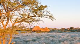 Exterior view of Kalahari Red Dunes Lodge, Kalahari Desert in South Africa
