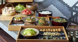 Aufnahme vom Essen im Matsumoto Kagetsu Hotel in Matsumoto, Japan