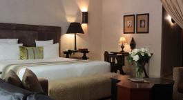Schlafzimmer der Villa Blanche in Agadir, Marokko