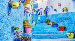 Morocco is the blue city of Chefchaouen, endless streets painted in blue color. Lots of flowers and Souvenirs in the beautiful streets of Chefchaouen. A magical fairy-tale city of heavenly color
