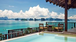 View from resort to ocean at Six Senses Yao Noi in Koh Yao Noi, Thailand