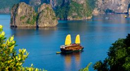 Exterior view of Valentine Cruise in Halong Bay, Vietnam