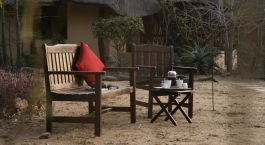 Breakfast outside at Kambaku Safari Lodge in Kruger, South Africa