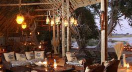 Lounge by night at Pom Pom Camp in Okavango Delta, Botswana