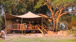 Exterior view of Mukambi Safari Lodge in Kafue, Zambia
