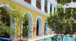 Swimming pool at the Palais de Mahe in Pondicherry, India