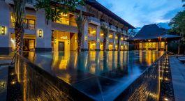 Pool during sunset at Puri Santrian Hotel, Sanur, Indonesia
