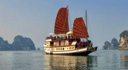 Exterior view of cruise at Dragon's Pearl Hotel, Halong Bay, Vietnam