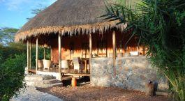 Terrace at Enjojo Lodge Hotel in Queen Elizabeth, Uganda