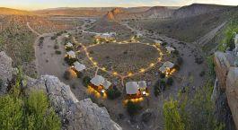 Bird's eye view of Sanbona Dwyka Tented Lodge in Little Karoo (Oudtshoorn), South Africa