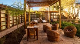Outdoor area at Terrantai Hotel in San Pedro de Atacama, Chile