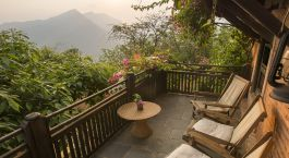 Balcony at The Famous Farm Hotel in Nuwakot, Nepal