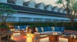 Outdoor lounge at Plataran Heritage Borobudur Hotel in Borobudur, Indonesia