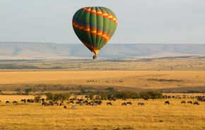 Hot air balloon over the Masai Mara, Kenya, Africa