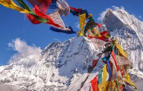 Tibetan Flags at Annapurna Base Camp Enchanting Travels Nepal Tours