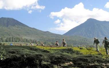Das Volcanoes Gebirge in Ruanda