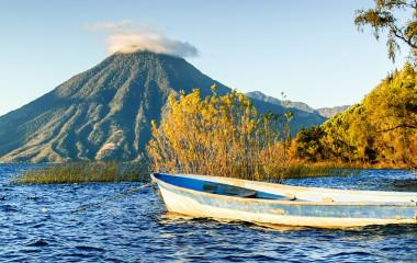 Guatemala Tour: San Pedro Volcano (Volcan San Pedro) across Lake Atitlan (Lago de Atitlan) in Guatemalan highlands