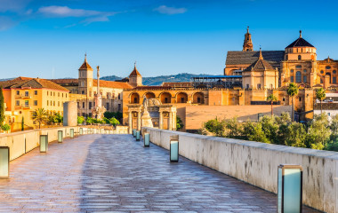 Cordoba, Spain, Andalusia. Roman Bridge on Guadalquivir river and The Great Mosque (Mezquita Cathedral)