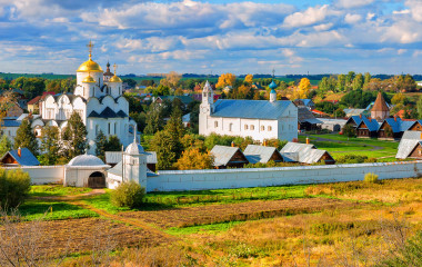 Panorama of Intercession (Pokrovsky) Monastery in Suzdal.