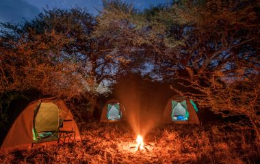 Camp fire at Bushways Mobile Bush Camp in Botswana, Africa