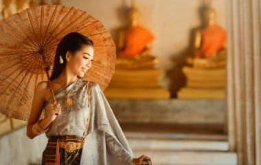 Thailand travel - Asian woman wearing traditional Thai culture,vintage style,Thailand
