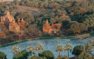 Ancient pagodas in Bagan with altitude balloon Myanmar, Asia