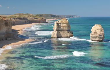 Twelve apostles marine national park at sunset, Great Ocean Road at Port Campbell, Victoria, Australia