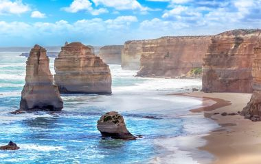 Twelve apostles marine national park at sunset, Great Ocean Road at Port Campbell, Victoria, Australia