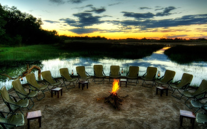 Campfire at Kanana Camp in Okavango Delta, Botswana