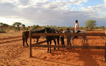 Horse riding at Bagatelle Game Ranch, Kalahari Desert in South Africa