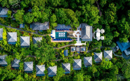 Bird's eye view of Nayara Springs Hotel in Arenal, Costa Rica