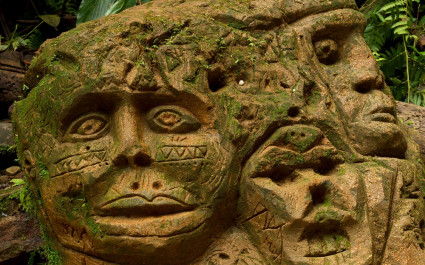 Ancient stone carvings in the Amazon of Ecuador