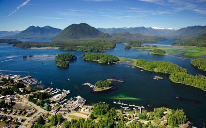 Aerial view of Tofino BC Canada