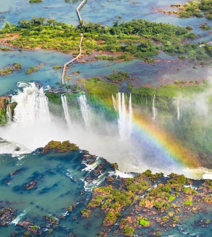 Beautiful aerial view of Iguazu Falls - One of the Seven Natural Wonders of the World - Foz do Iguaçu, Brazil