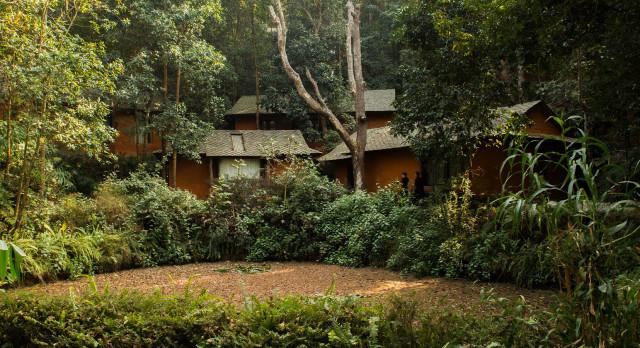 Garden view at resort Dwarika's Resort in Dhulikhel, Nepal