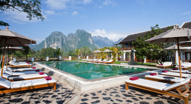 Pool at Riverside Boutique in Laos