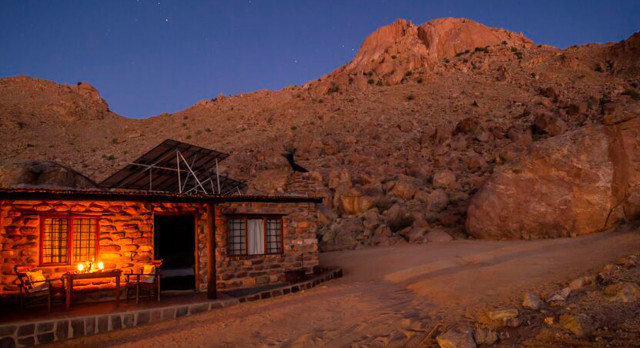 Exterior view of Eagle's Nest Chalets Hotel in Aus, Namibia